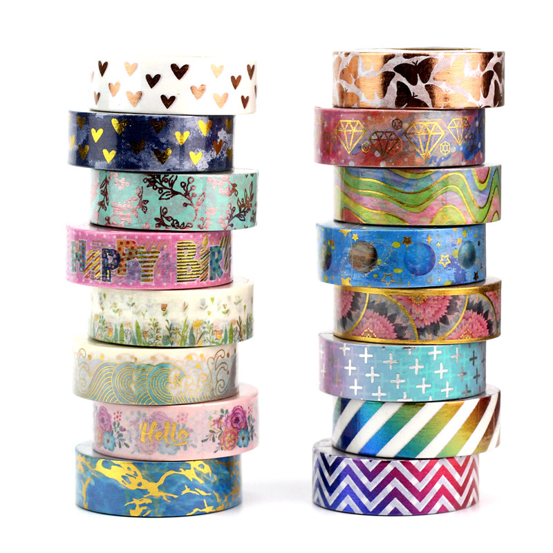 10M Cute Cross Leaves Hearts Gold Foil Washi Tape Paper Scrapbooking Masking Tape Adhesive Sticker Decorative Stationery Tapes