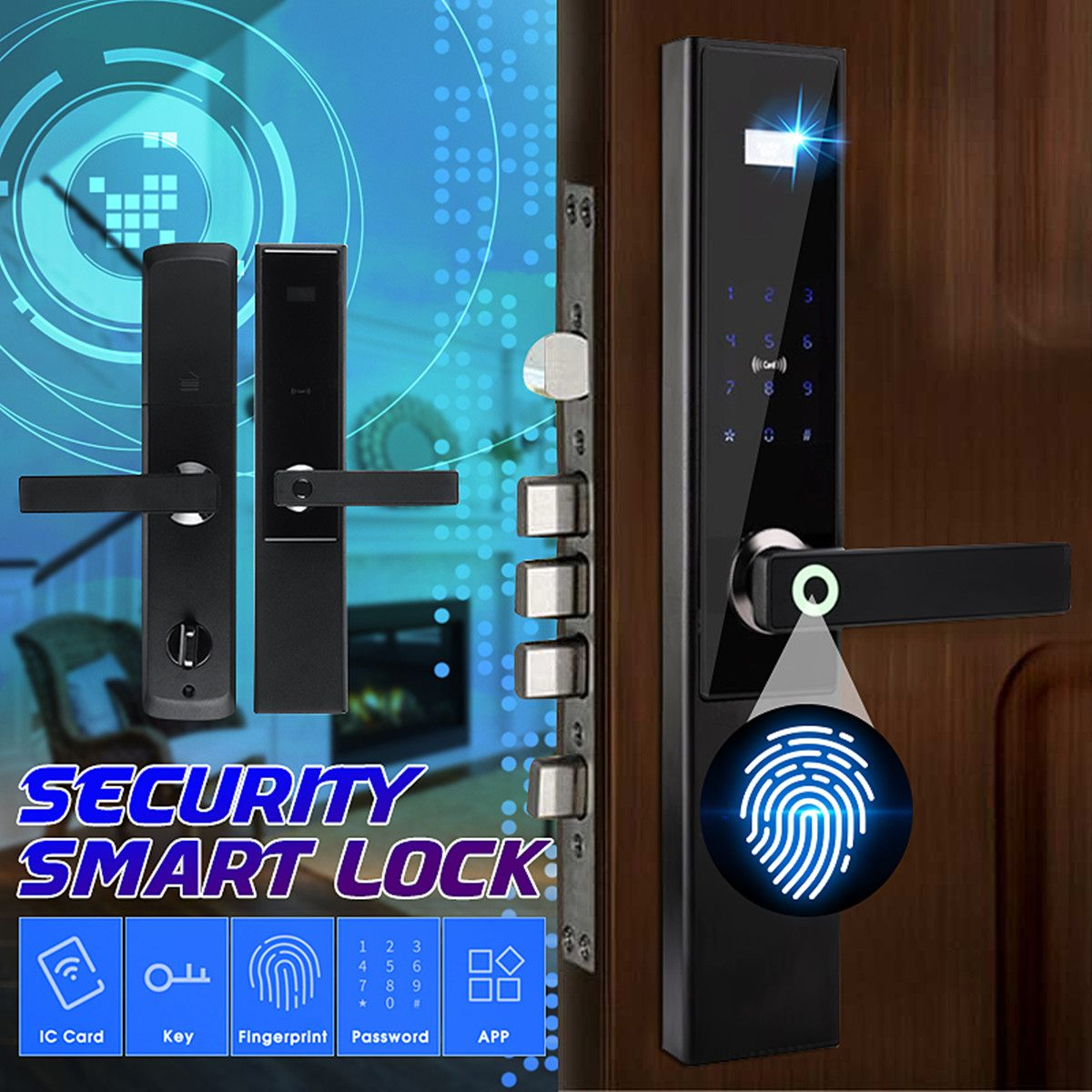 Universal Security Electronic Door Lock for Home Hotel Apartment Intelligent Fingerprint APP Password Door Lock Smart Card Key image
