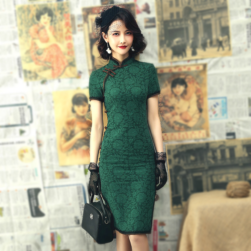 Sheng Coco Lace Cheongsam Dresses 2020 Lace Vintage Dress Slim Peony Qipao Women Long Sleeve Green Chines Clothing