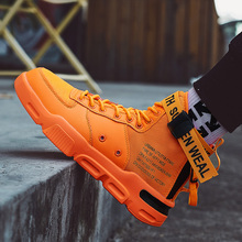 Men High Top Sneakers Trend Hot Sale Comfortable Man Running Shoes Outdoor Non-slip Breathable Male Orange Sports Shoes Big Size цена и фото