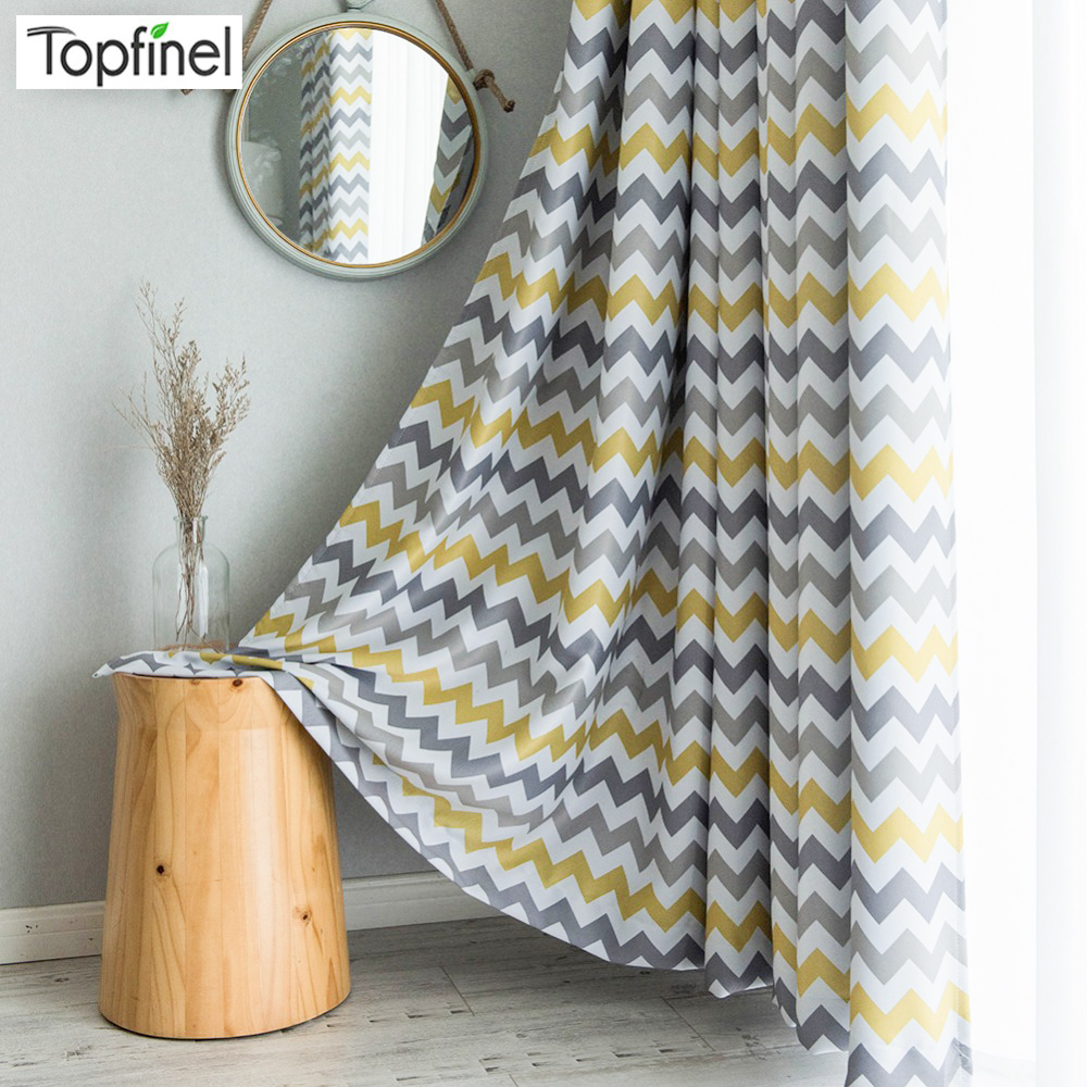 Topfinel Printed Geometric Wave Blackout Curtains Drapes Curtains For Living Room Yellow Blue Modern Bedroom Kitchen Curtains