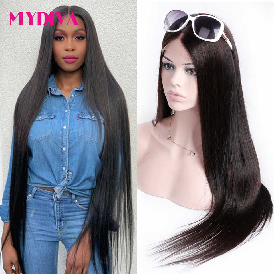 30 32 34 36 38 40 inch Lace Front Human Hair Wigs For Black Women Brazilian Straight Remy 360 Lace Frontal Wig With Baby Hair