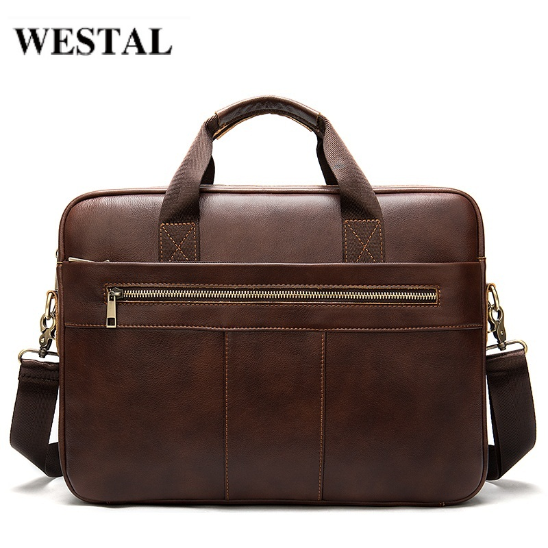 WESTAL Men's Briefcases Men's Bags Genuine Leather Laptop Bag Lawyer Office Bags For Men Man Bag Leather Briefcase Document 8523