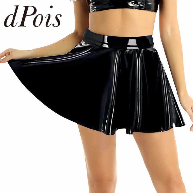 Minifalda Skater de estilo mojado de cuero PU de cintura alta Casual de moda acampanada plisada Línea A círculo playa Nihgtclub Dance falda