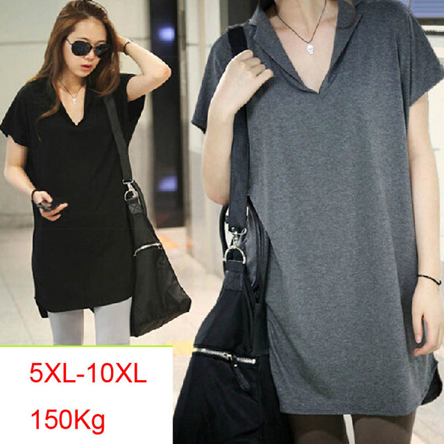 150Kg Plus size women's summer loose batwing short sleeve long T-shirt bust 156cm 5XL 6XL 7XL 8XL 9XL 10XL V-neck modal top 1