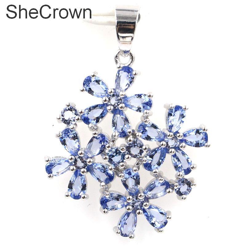 38x27 mm-es forró eladású virágok Iolite női party ezüst medál