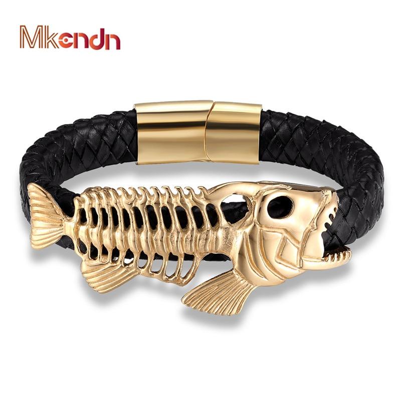 MKENDN Punk Style Design Gold Fish Bones Genuine Leather Bracelet for Men Stainless Steel Magnetic Button Gift Male Bracelets