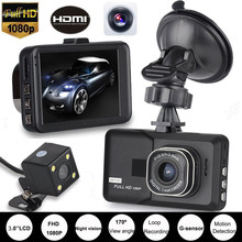 NEW Style 3 Inch LCD Screen 170 Degree Dual Lens HD 1080P Camera Car DVR Vehicle Video Dash Cam Recorder G-Sensor new 1080p hd portable recorders 3 0 inch lcd car dvr dash camera 170 degree night vision g sensor video recorder dxy88