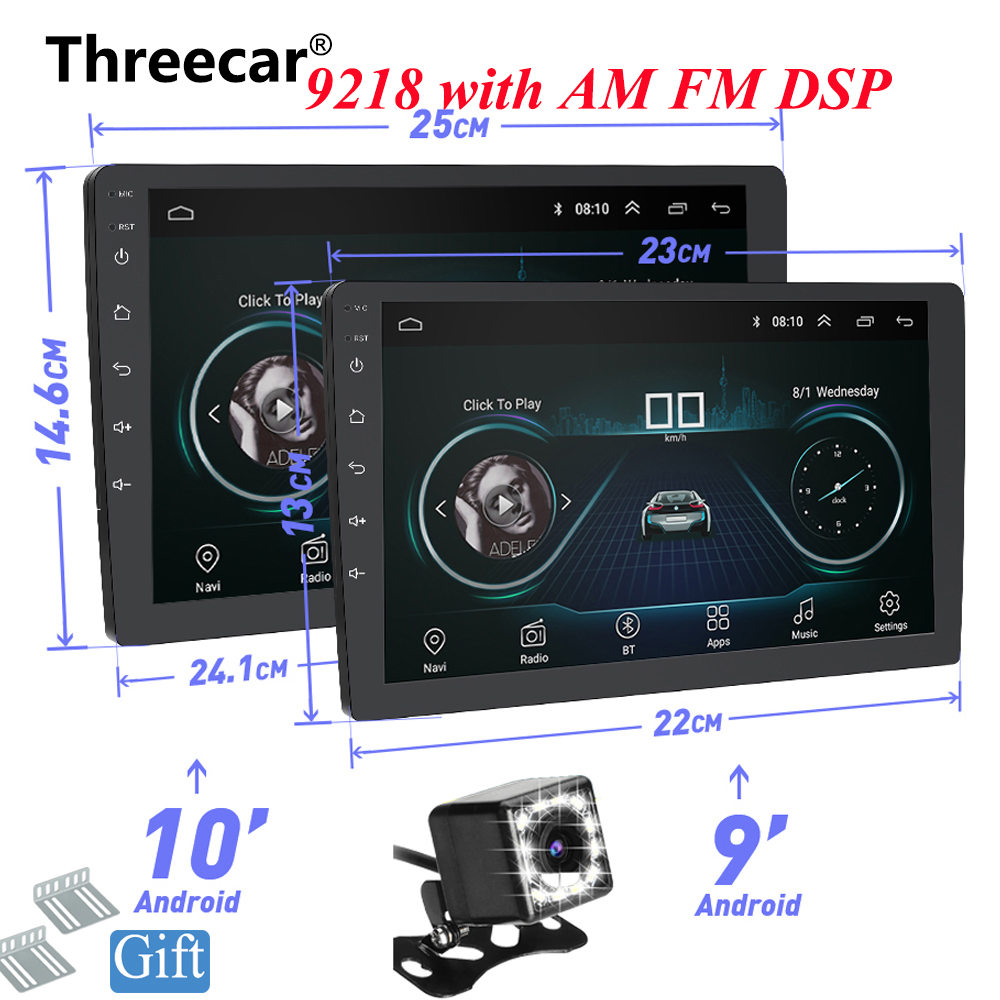 9 10 POLEGADAS Android 8.1 GPS Navigation Autoradio Multimedia DVD Player Bluetooth WI-FI MirrorLink DSP OBD2 2Din Universal Rádio Do Carro