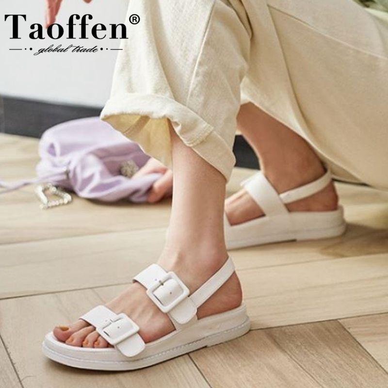 Женские кожаные сандалии Taoffen, на плоской подошве, с металлической пряжкой, однотонная повседневная обувь, размеры 34 40|Боссоножки и сандалии|   | АлиЭкспресс - Летние Сандалии С AliExpress