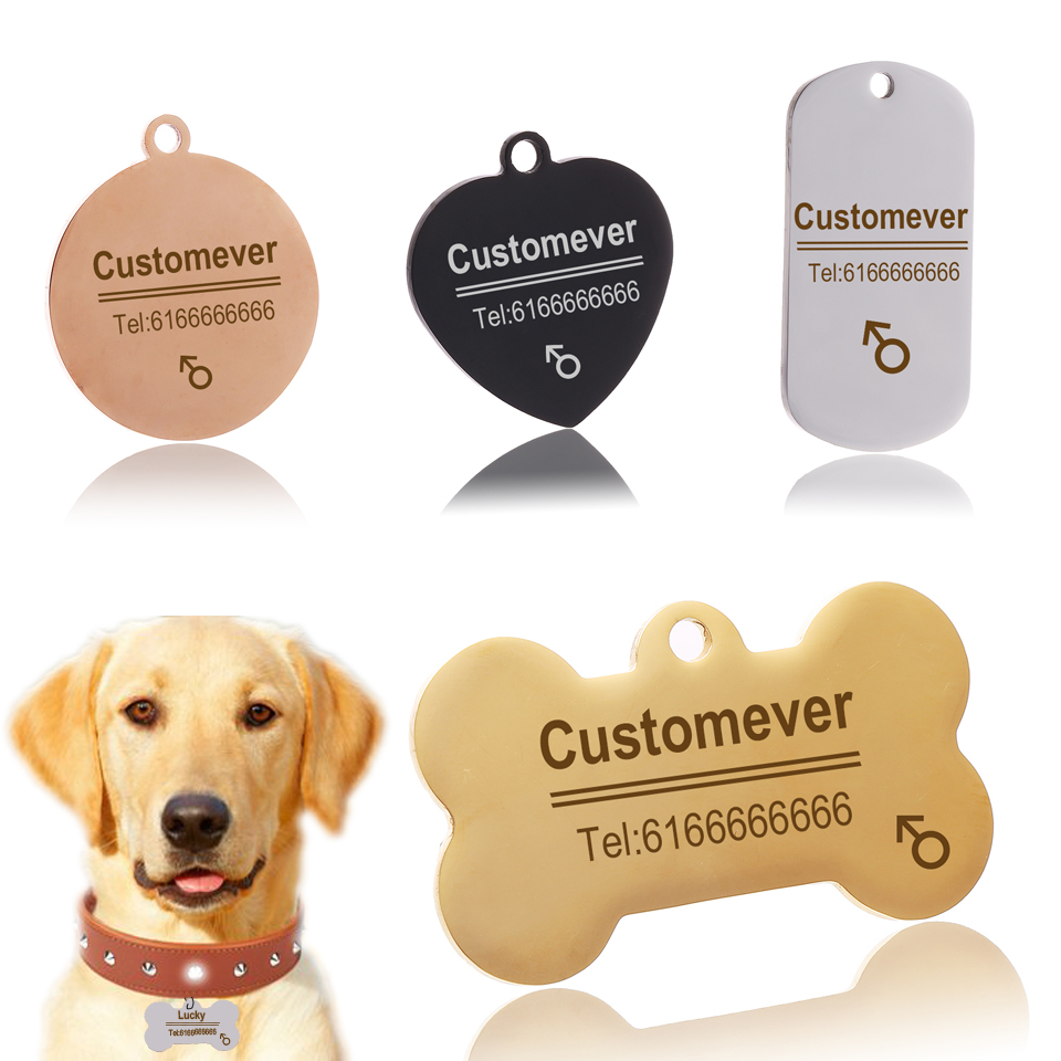Custom Dog Tags in Rose Gold Silver or Black Engraved Stainless Steel Pet ID Cat Tag Name Dog Bone Personalized Dog Collar Tag 1
