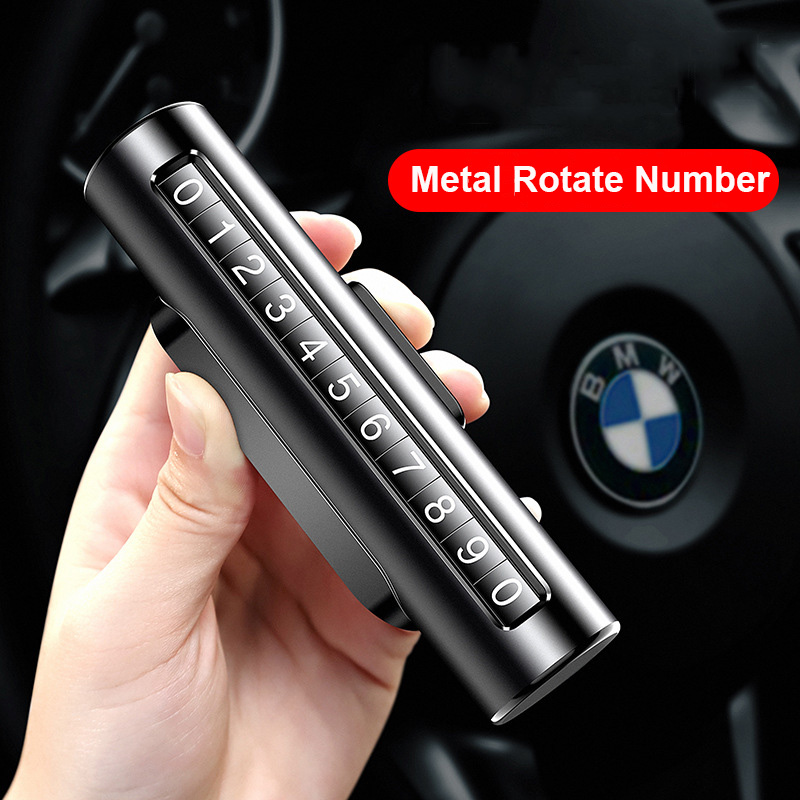Metal Car Temporary Parking Card Rotatable Number Hidden Double Sided Car Styling Parking Phone Number Plate with 3M Sticker