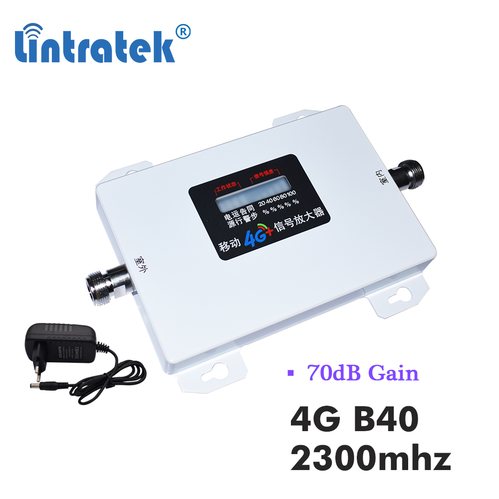 Lintratek 2300mhz B40 LTE 4G Celular Amplifier Signal 70db TD 2300 4g Internet Communication Cell Phone Repeater Booster LCD S9