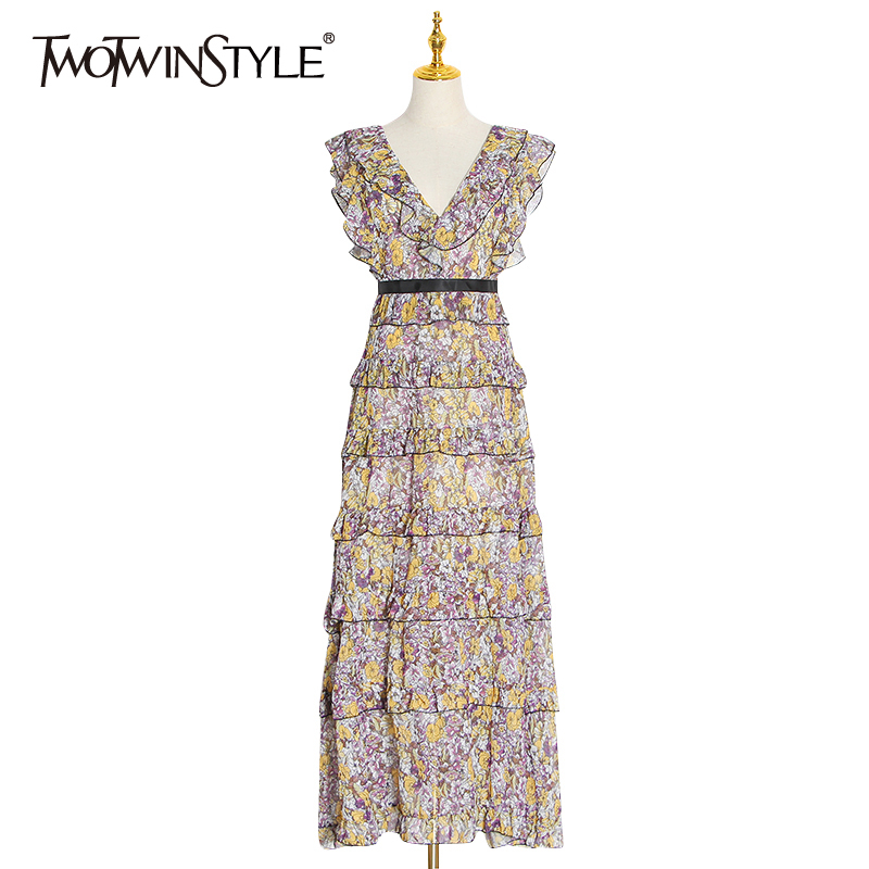 TWOTWINSTYLE Vintage Print Ruffle Women Dress V Neck Tank Sleeveless High Waist Lace Up Maxi Dresses Female Clothes 2020 Fashion