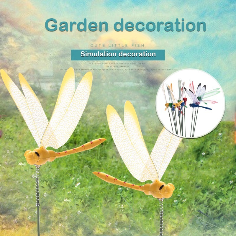 2PCS/lot DIY Artificial Dragonfly Garden Lawn Decorations  3D Simulation Dragonfly Yard Plant Lawn Decor Stick Random Color