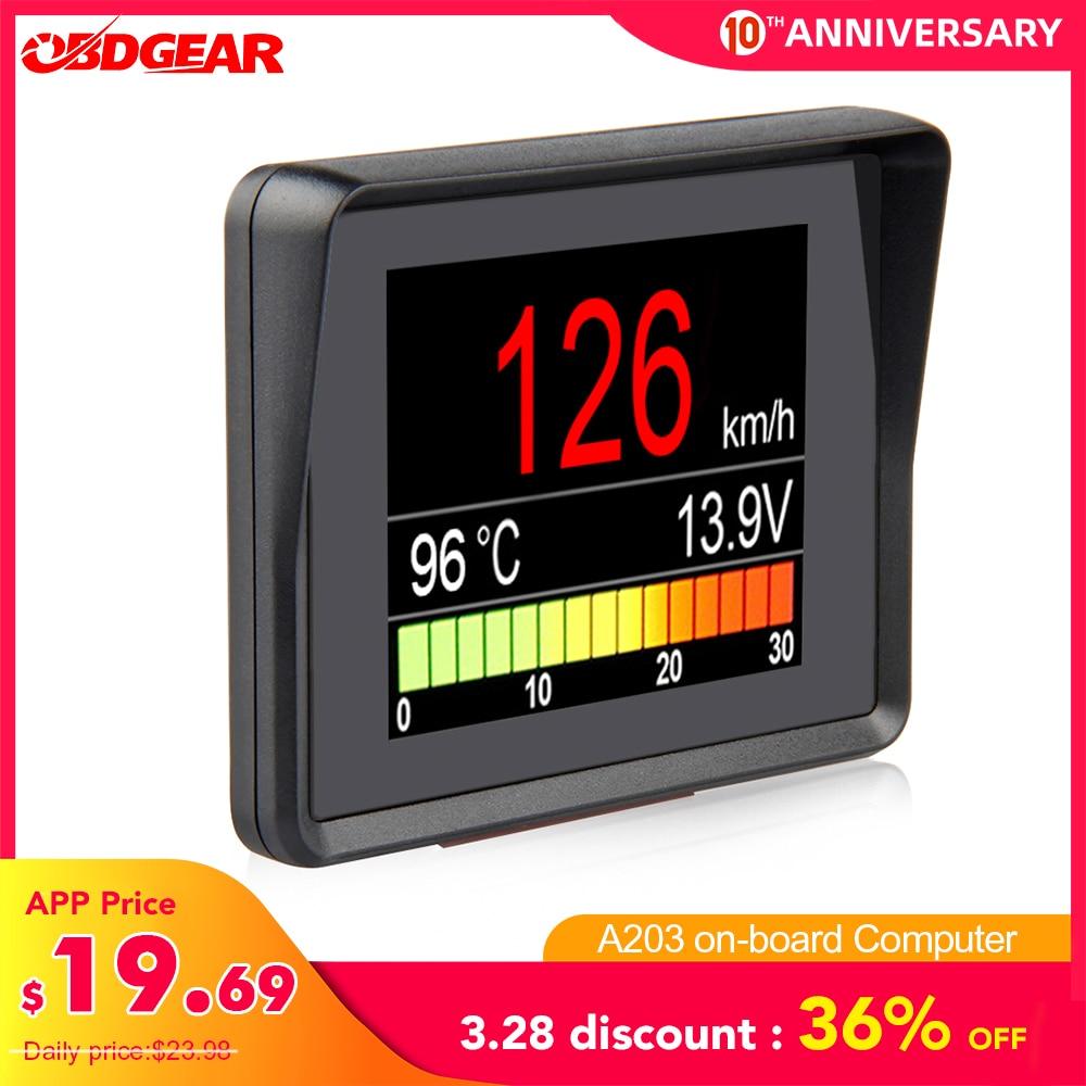 Automobile On Board Computer A203 Car Digital OBD Computer Display Speedometer Fuel Consumption Meter Temperature Gauge OBD2