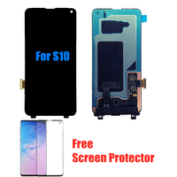NEW 100% SUPER AMOLED S10 LCD For SAMSUNG Galaxy S10 G973F G973 Touch Screen Display Digitizer Assembly with Frame