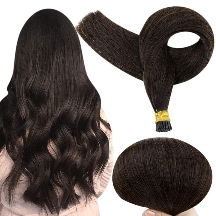VeSunny Pre Bonded Keratin I Tip Fusion Hair Stick Tip Hair Extensions 100% Real Human Hair 50gr/Pack