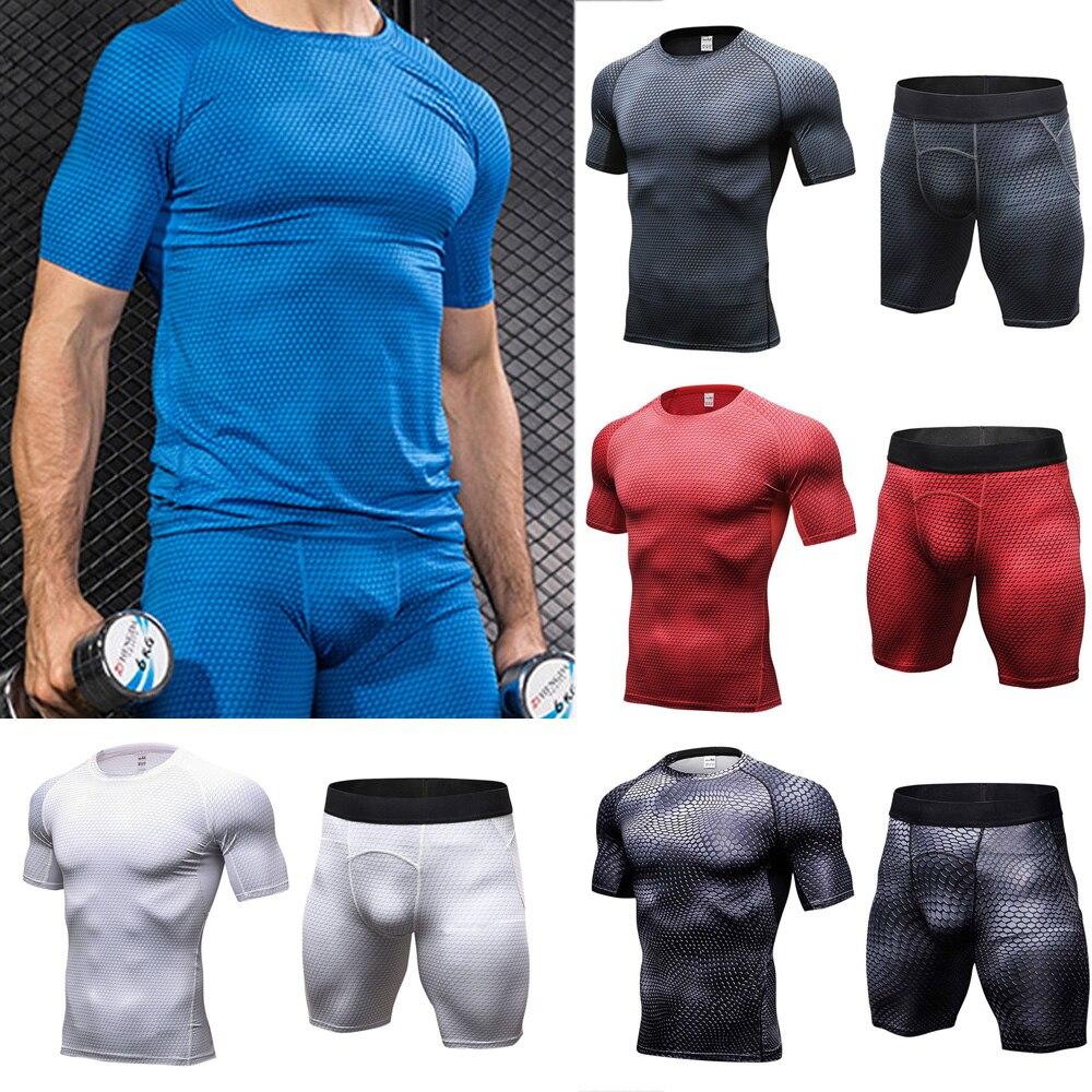 Men's Elastic Short Sleeve Tops Sports Shorts Training Fitness Sportswear Set