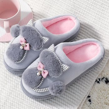 Women Cotton Slippers Cute Cat Slippers Ladies Platform Indoor Shoes For Women Winter Slippers Home Slippers Female Warm Shoes slippers for home use emoji soft cute cartoon slipper winter warm plush women shoes indoor home slippers for female women shoes
