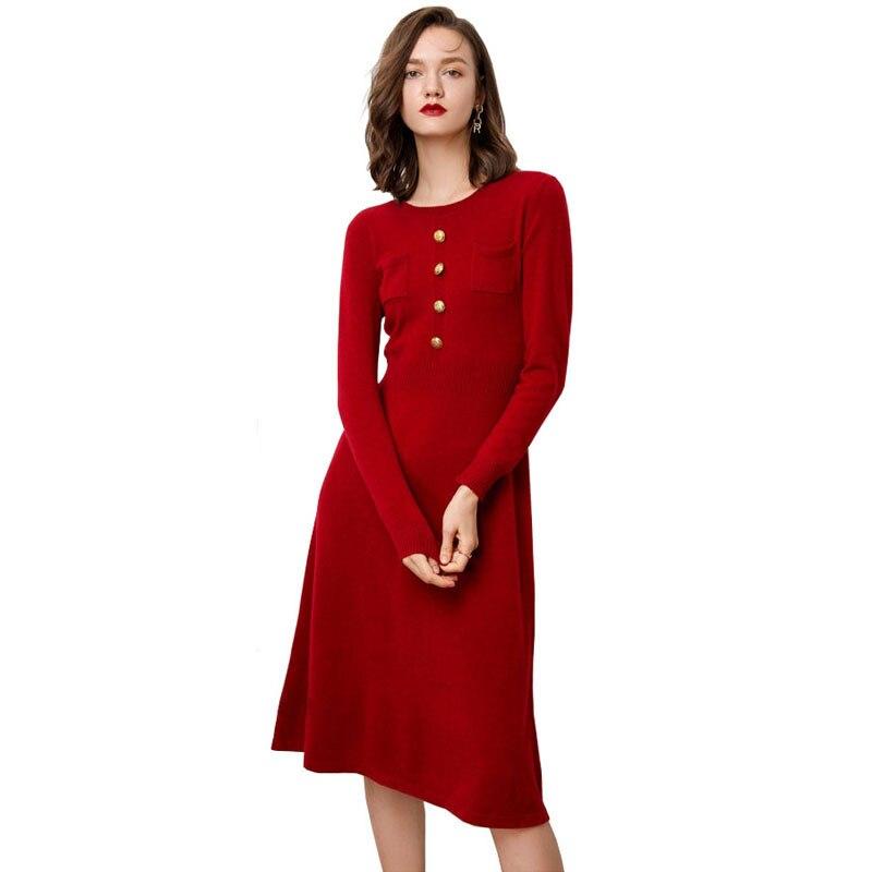 2019 automne hiver nouveau chaud épais laine cachemire pull tricoté robes femmes Fit et Flare Slim taille avant bouton robe poche