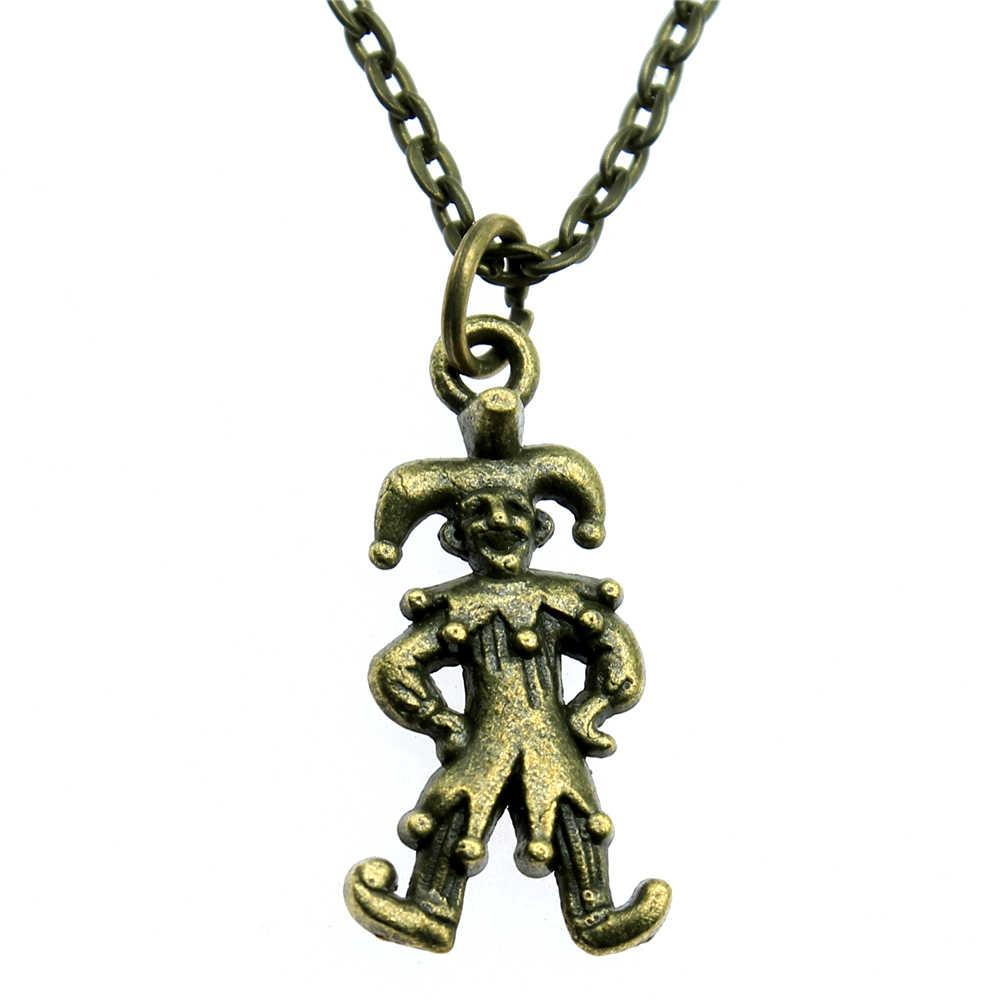 24x12mm klaun śmieszne ludzie Harlequin wisiorek naszyjnik 2 kolory antyczne srebro Antique Bronze Plated