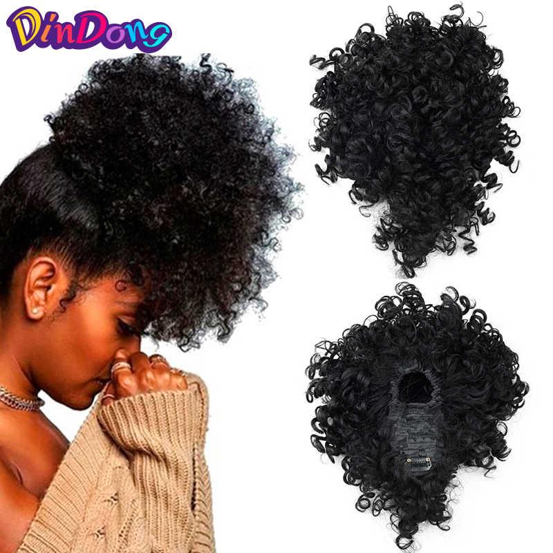 Dindong Pendek Afro Kinky Curly Updos Wig Sintetis Klip Di Warp Ekor Kuda Rambut Ekstensi Ekor Palsu Rambut Ekor Kuda dengan Poni