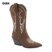 OIAH Brand Women Boots Pointed Toe Wedges Shoes Autumn Winter Embroidery Booties Ladies Western Cowgirl Mid-Calf for