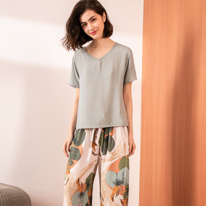Image 5 - Summer Pajamas Set Women Comfortable Cotton Viscose Contrasting Color Pajamas Short Sleeve Tops with Long Trousers Ladies Pj Set