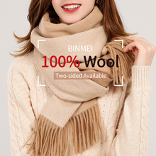 Reversible 100% Real Wool Scarf Women 2019 Brand Warm Shawls and Wraps Ladies Solid Warps Echarpe 305g Winter Camel Scarves