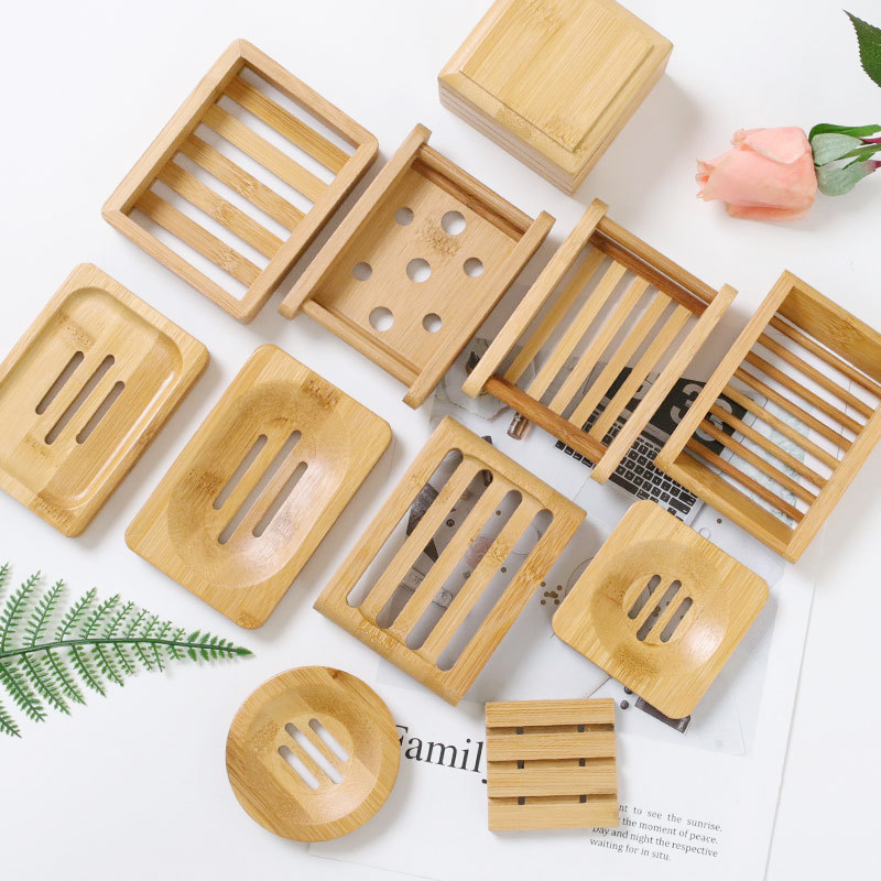 Natural Bamboo Soap Dishes Tray Holder Storage Wood Soap Rack Plate Portable Bathroom Wooden Soap Dish Box Soap Container Case