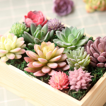 1PC Green Flocking Artificial Succulents Plants Garden Miniature Fake Cactus Bonsai Desktop Fake Plants Home/Party/Wedding Decor