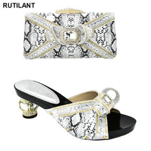 Designer Shoes Platform Rhinestone Women Italian And with Bag-Set Bags Decorated