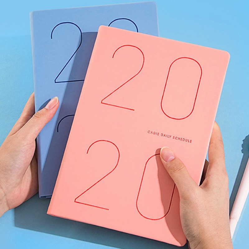 Agenda 2020 planificador de cuero organizador diario A5 Agenda cuaderno diario semanal mensual viaje Bloc de notas escuela 2020,1-2020,12 D40