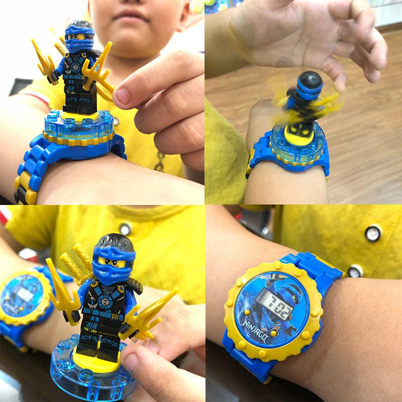 นาฬิกาเด็กอาคารบล็อกอิฐของเล่นเด็กนาฬิกาใช้งานร่วมกับ LegoINLY NinjagoINLY LegoINGS Duplo LegoINGL MinecraftING ของเล่น