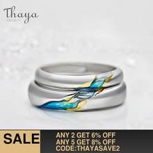 Thaya S925 Silver Couple Rings The Other Shore Starry Design Rings for Women Men Resizable Symbol Love Wedding Jewelry Gifts(China)