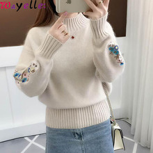 Cashmere Turtleneck Sweater Women 2019 Autumn Winter Knitted Embroidery Pullovers and Jumpers Christmas Sweaters Female