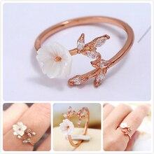 Vintage Shell Flower Rings For Women Engagement Promise Ring Retro Adjustable Finger Rings Girl Crystal Leaf anillos Femme R5 rhinestoned flower leaf finger ring