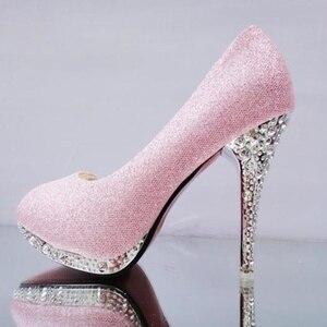 Image 2 - Женские свадебные туфли с кристаллами, женские вечерние туфли для невесты, красные туфли на высоком каблуке, привлекательные женские туфли лодочки, блестящие белые свадебные туфли