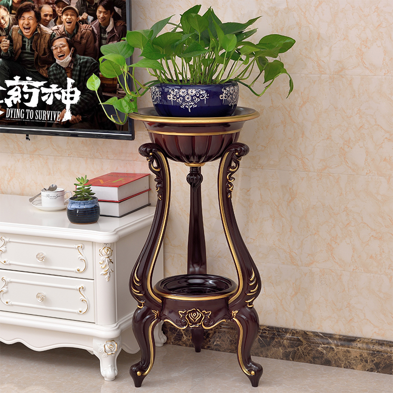 European Indoor Living Room Flower Stand Ground Plastic Flower Pot Shelf Simple Balcony Floor Hanging Orchid Stand