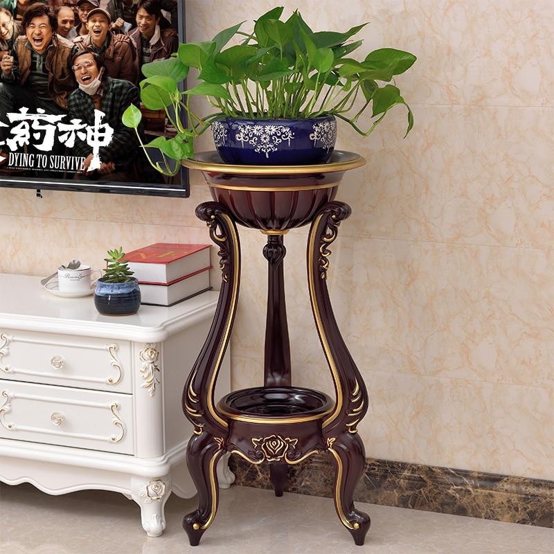 European Indoor Living Room Flower Stand Ground Plastic Flower Pot Shelf Simple Balcony Floor Hanging Orchid Stand