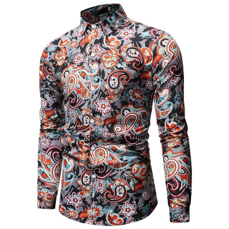 Mens Paisley Shirt Brand Design Stylish Slim Fit Dress Shirts Men Long Sleeve Chemise Homme Party Casual Social Camisas Hombre