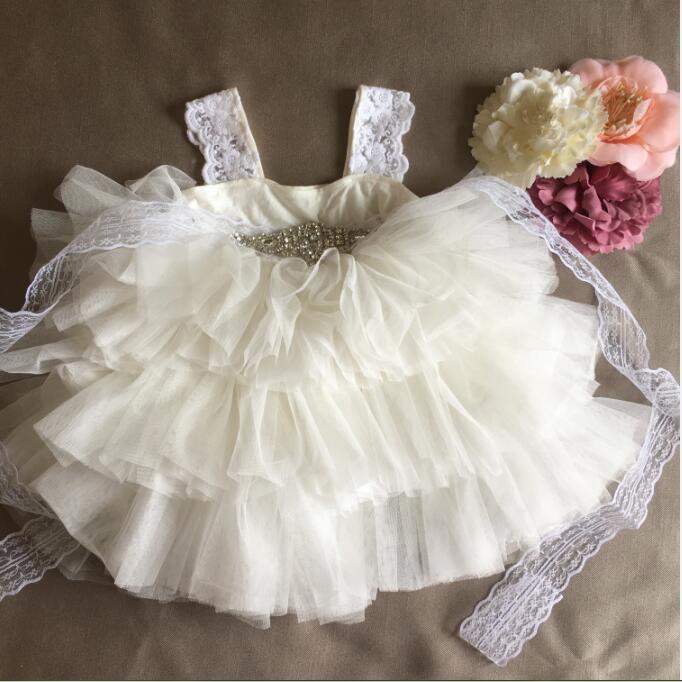 Retail Gorgeous Rhinestone Sashes Girl Evening Dress Baby Girl Lace Sling Princess Tutu Dress Kids Formal Costume 6