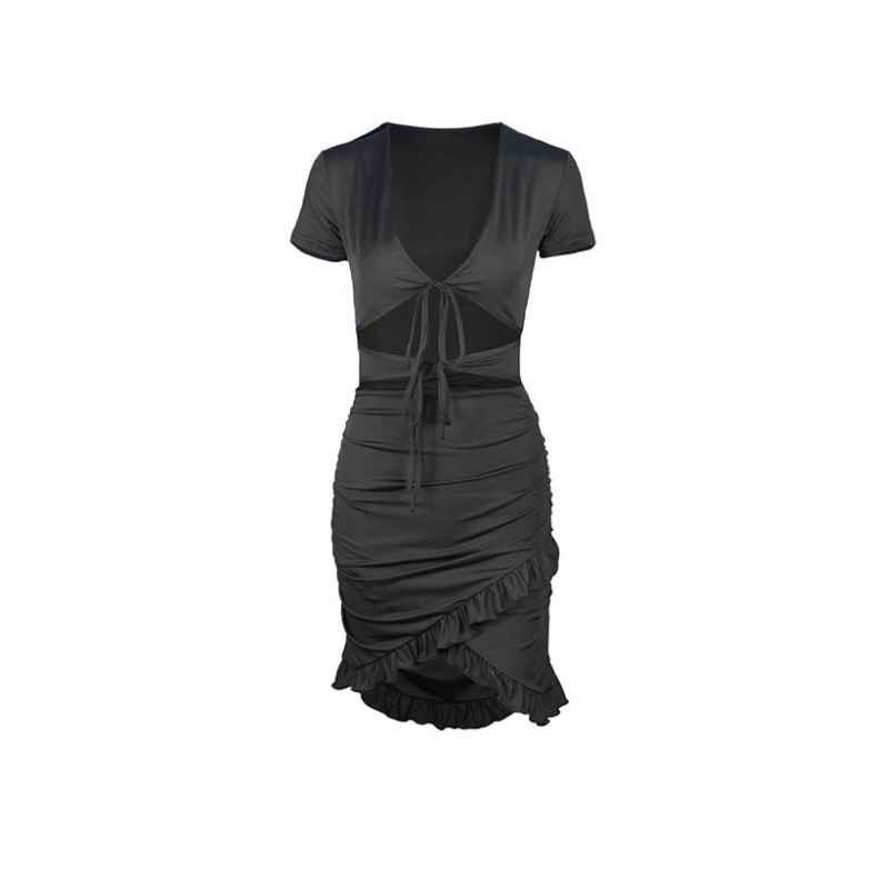 Womens V Neck Wrap Short Mini Dress Ladies Bodycon Summer Hollow Out Sexy Fashion Evening Party Dress 9