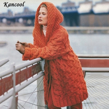 KANCOOL 2020 Cardigan Solid Hooded Jacket Women Sweater Warm Autumn Winter Female Coat Casual Knitted Thick Long Sweaters oeak women s autumn and winter hooded jacket long sleeved thick coat warm side zipper jacket coat solid color long coat 2019