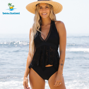 Beachsissi Women's New Black Lace Swimsuit 2 Piece Halter Neck Ruffle Hem Lace Panel Cute Tankini Set 2021 Swimwear Bathing Suit 1