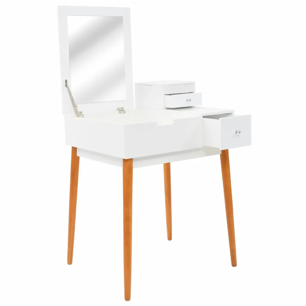 Dressing Table Stool Mirror Dresser MDF 60x50x86 Cm Bedroom Furniture Woman Makeup Dressers White Color Dresser V3