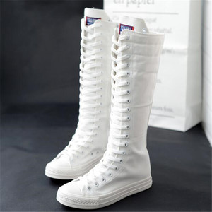 Image 2 - High top long tube womens boots casual canvas side zipper strap sneakers womens shoes winter boots women thigh high boots