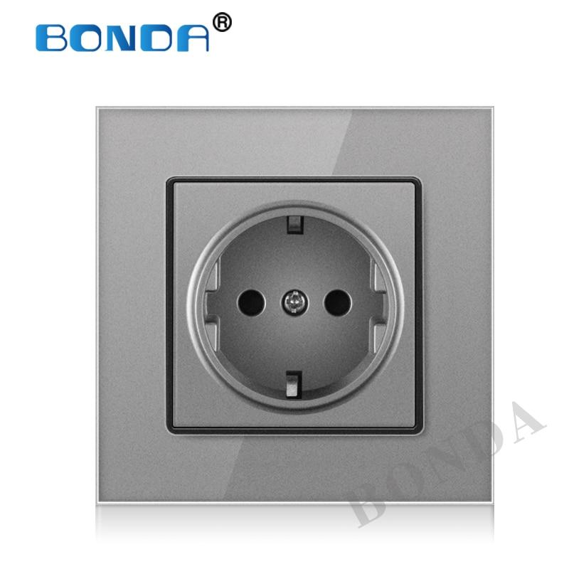 BONDA EU Standard white black gold Crystal Glass Panel AC 110 250V 16A Wall Power Socket16A 2100ma Electrical Wall Power Socket(China)