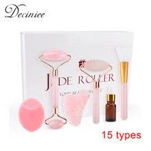 15 tipos de rosto massageador ferramenta de levantamento emagrecimento branco verde rosa rolo de quartzo jade natural massagem facial rolo pedra presente caixa